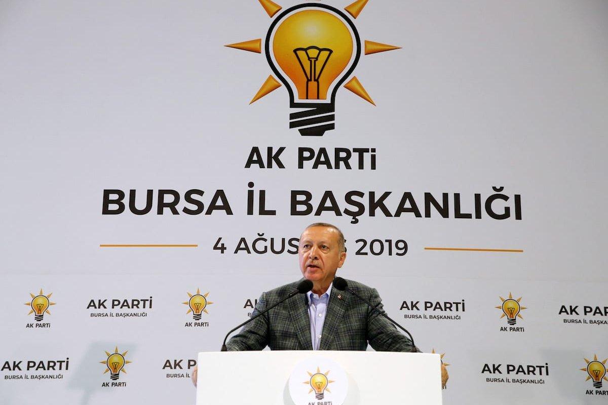 President of Turkey, Recep Tayyip Erdogan delivers a speech during a dinner of AK Party's Bursa Provincial Department in Bursa, Turkey on 4 August 2019. [Turkish Presidency / Cem Oksuz / Handout - Anadolu Agency]