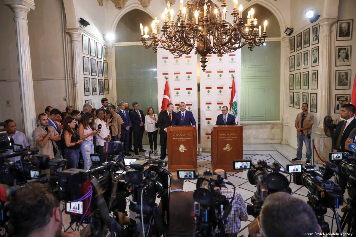 Minister of Foreign Affairs of Turkey, Mevlut Cavusoglu (CL) and Minister of Foreign Affairs of Lebanon, Gebran Bassil give a joint press conference after their meeting in Beirut, Lebanon on 23 August 2019 [Cem Özdel/Anadolu Agency