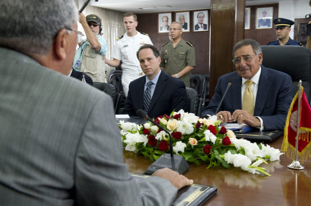 Secretary of Defense Leon E. Panetta meets with Tunisian Minister of Defense Abdelkrim Zbidi in Tunis, Tunisia on 29 July 2012. [Flickr]