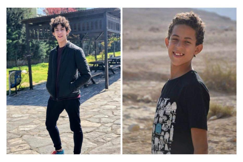 Former Egyptian child prisoner Haitham Abdel Rahim (R) in 2015, (L) in 2019