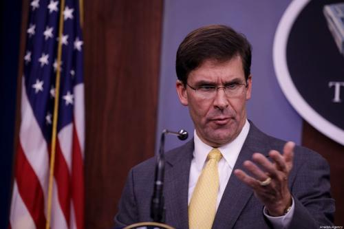 US Secretary of Defense Mark Esper makes a speech during the joint press conference with US Joint Chiefs of Staff Chairman General Joseph Dunford (not seen) at the Pentagon in Washington, United States on 28 August, 2019 [Yasin Öztürk/Anadolu Agency]