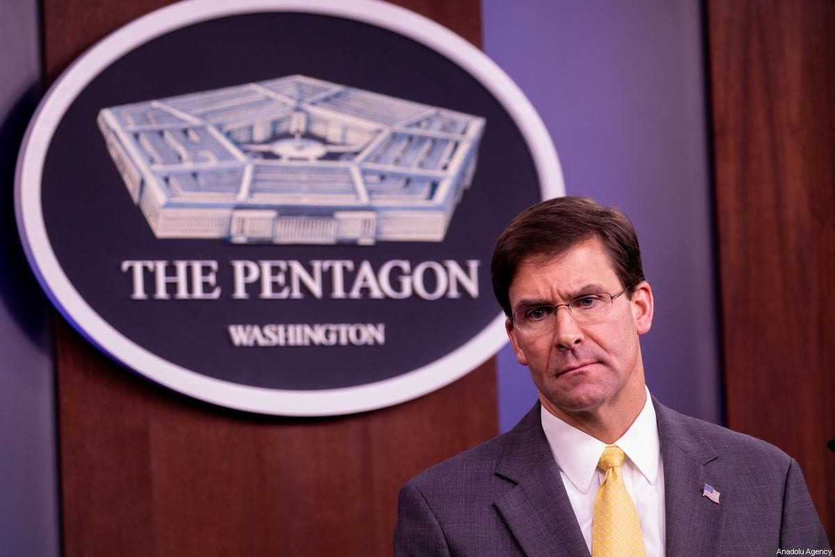 US Secretary of Defense Mark Esper makes a speech during the joint press conference with U.S. Joint Chiefs of Staff Chairman General Joseph Dunford (not seen) at the Pentagon in Washington, United States on 28 August 2019. [Yasin Öztürk - Anadolu Agency]