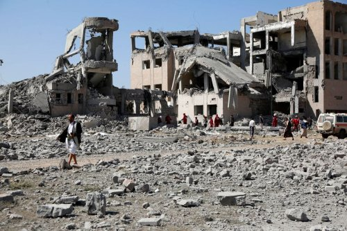 Damaged buildings are seen after Saudi carried out air strikes in Yemen 1 September 2019 [Mohammed Hamoud/Anadolu Agency]