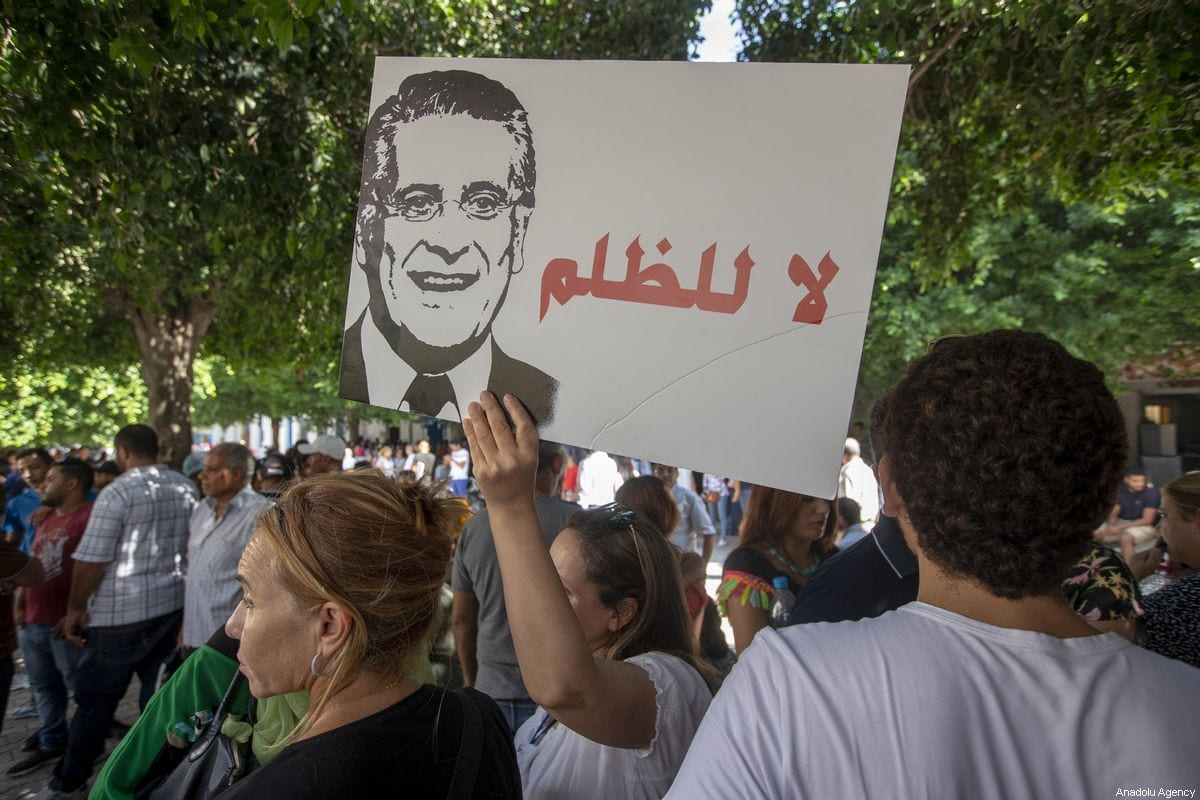 Supporters of presidential candidate Nabil Karoui rally asking for his release from prison in Tunis, Tunisia on 3 September 2019 [Yassine Gaidi/Anadolu Agency]