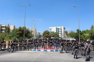 Security forces seen taking security measures as Jordanian teachers gather near government headquarters, during a protest for better pay in Amman, Jordan on September 05, 2019 [Laith Joneidi / Anadolu Agency]