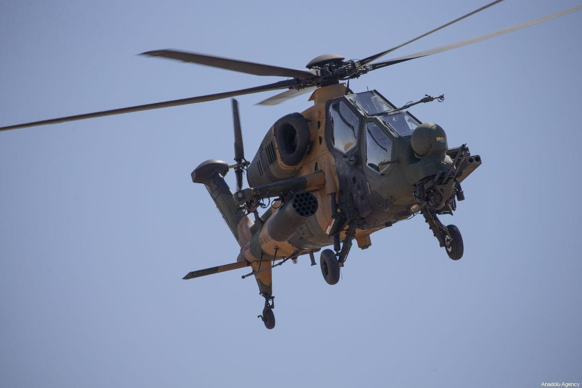 A Turkish military helicopter on 8 September 2019 [Emin Sansar/Anadolu Agency]
