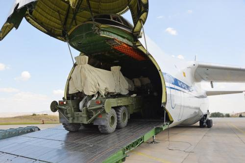 The final parts of the second battery of Russian S-400 missile defense system arrive at Murted Airbase in Ankara, Turkey on 15 September 2019. [TURKISH NATIONAL DEFENSE MINISTRY / HANDOUT - Anadolu Agency]