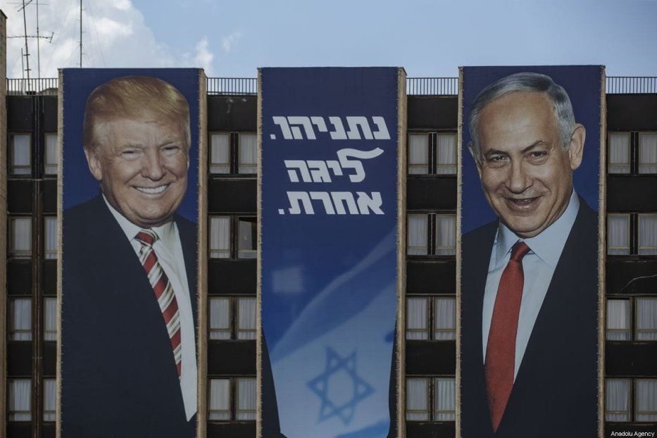 Israel's Prime Minister Benjamin Netanyahu and US President Donald Trump posters are seen ahead of the General elections in Jerusalem on 16 September 2019. [Faiz Abu Rmeleh - Anadolu Agency]