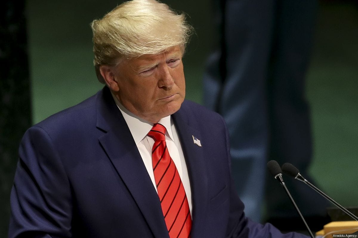 US President Donald Trump delivers a speech at the 74th session of UN General Assembly in New York, United States on 24 September, 2019 [Erçin Top/Anadolu Agency]