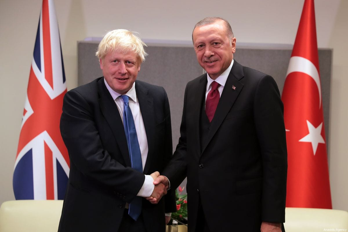 President of Turkey, Recep Tayyip Erdogan meets British Prime Minister Boris Johnson within the 74th session of UN General Assembly in New York, United States on 24 September 2019. [Turkish Presidency / Murat Cetinmuhurdar - Anadolu Agency]