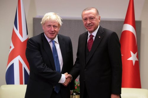 President of Turkey, Recep Tayyip Erdogan meets British Prime Minister Boris Johnson within the 74th session of UN General Assembly in New York, United States on 24 September 2019. [Turkish Presidency / Murat Cetinmuhurdar - Anadolu Agency]