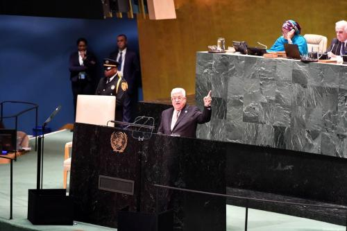 Palestinian President, Mahmoud Abbas (Front C) addresses during the 74th Session of the United Nations General Assembly at UN Headquarters in New York, United States on 26 . September 2019. [Thaer Ghanaim / Palestinian Presidency / Handout - Anadolu Agency]