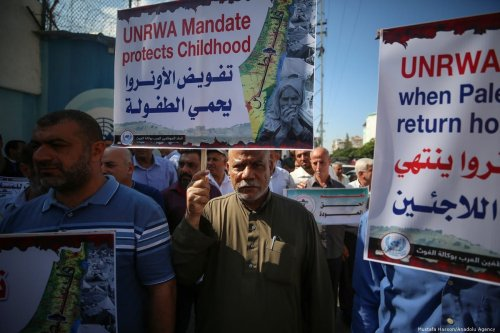 Palestinians gather at the UNRWA building during a demonstration in Gaza City, Gaza on 17 September 2019 [Mustafa Hassona/Anadolu Agency]