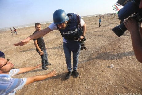 """Israeli snipers are using Palestinian protesters and media taking part in and covering the Great March of Return demonstrations as """"entertainment"""" as part of their """"games"""", says Palestinian journalist Abdul-Rahman Al-Kahlout [Mohammed Asad/Middle East Monitor]"""
