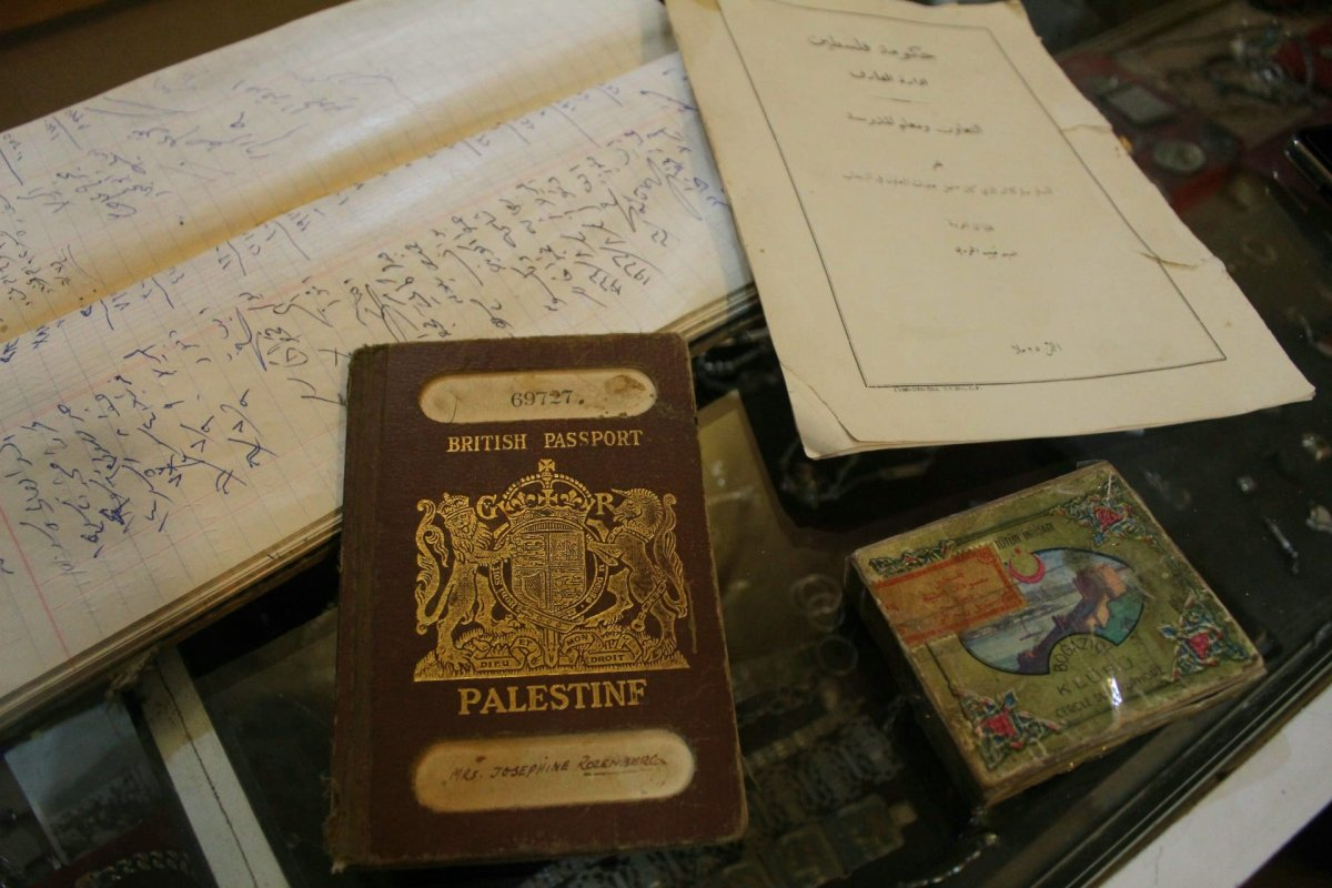 Nablusi's shop on Al-Saraya street hosts hundreds of artefacts that reveal Palestine's past, such as passports, accounting books, government documents, or even Ottoman-era cigarettes