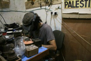 Rami Nablusi earns his living by hand crafting real silver pieces to sustain his main work of purchasing historical materials from the community and keeping them safe