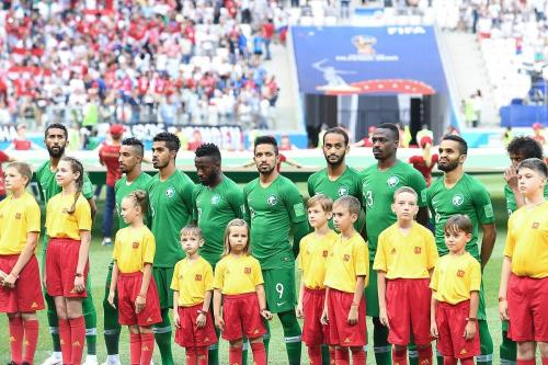 Members of the Saudi Arabian national football team seen before the start of a match of the FIFA World Cup 2018 on June 26, 2018 [soccer.ru / Wikimedia]