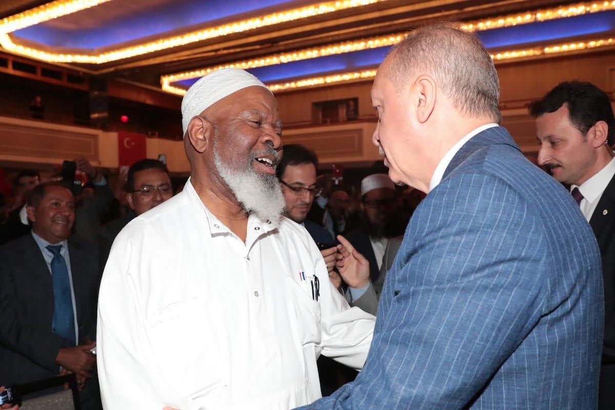 President of Turkey, Recep Tayyip Erdogan greets US-based Imam Siraj Wahhaj as he arrives to make a speech at Turkish American National Steering Committee (TASC) in New York, United States on 22 September 2019. [TURKISH PRESIDENCY / MURAT CETINMUHURDAR / HANDOUT - Anadolu Agency]