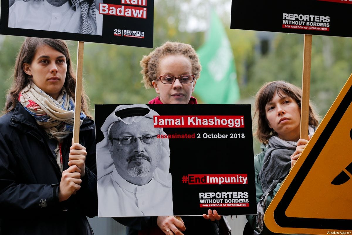 Members of Reporters Without Borders Organization stage a protest demanding justice for murdered Saudi Arabian journalist Jamal Khashoggi outside the Embassy of Saudi Arabia in Berlin, Germany on 1 October 2019. Khashoggi was killed on Oct. 2, 2018, in the Saudi Consulate in Istanbul. [Abdülhamid Hoşbaş - Anadolu Agency]