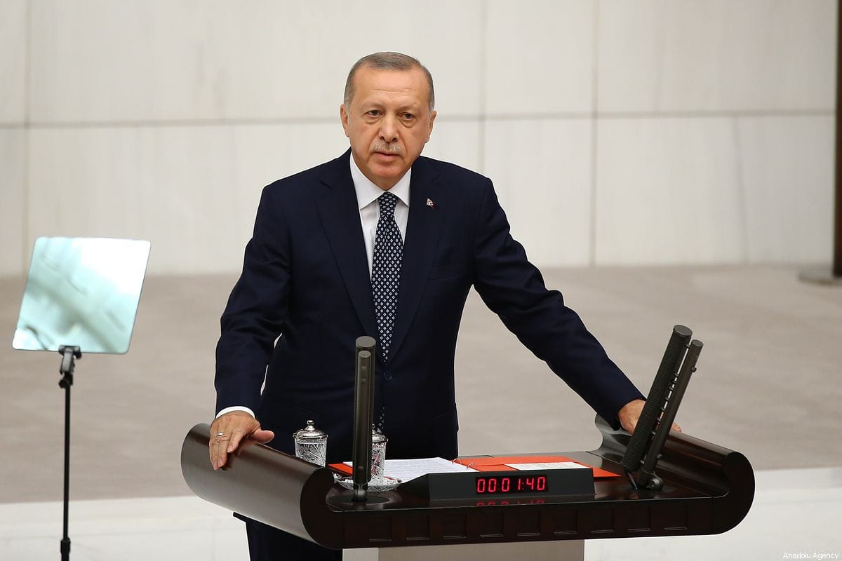 Turkish President Recep Tayyip Erdogan delivers a speech at the Grand National Assembly of Turkey (TBMM) in Ankara, Turkey on 1 October 2019 [Volkan Furuncu/Anadolu Agency]