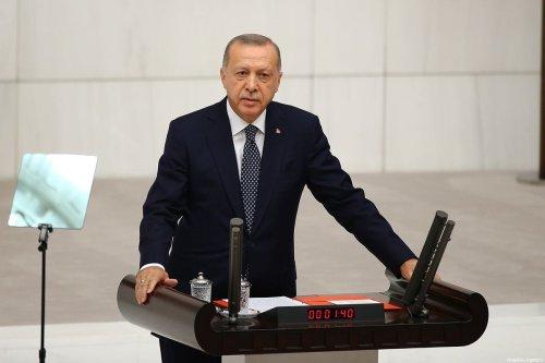 Turkish President Recep Tayyip Erdogan delivers a speech at the Grand National Assembly of Turkey (TBMM) in Ankara, Turkey on 1 October 2019 [Volkan Furuncu/Anadolu Agency]