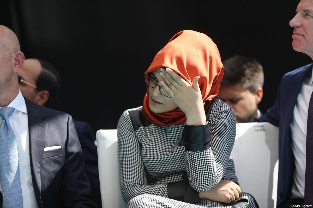 The fiancee of murdered Saudi Arabian journalist Jamal Khashoggi, Hatice Cengiz attends a commemoration ceremony held in front of Saudi consulate on the first anniversary of his murder, in Istanbul, Turkey on 2 October, 2019 [Arif Hüdaverdi Yaman/Anadolu Agency]