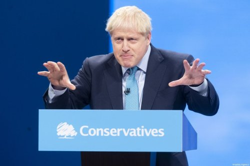 British Prime Minister Boris Johnson makes a speech during the Conservative Party annual conference in Manchester, UK 2 on October 2019 [Ray Tang/Anadolu Agency]