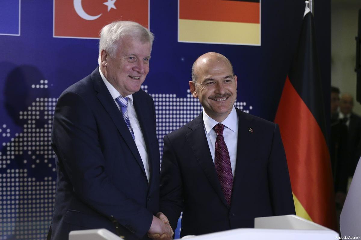 Turkish Interior Minister Suleyman Soylu (R) meets German Interior Minister Horst Seehofer (L) on the issue of migration in Ankara, Turkey on October 03, 2019 [Güven Yılmaz / Anadolu Agency]