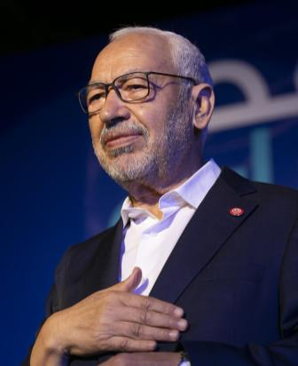TUNIS, TUNISIA - OCTOBER 4: Leader of Nahda Movement Rachid al-Ghannouchi greets people during a gathering within Nahda Movement's election campaign at Habib Burgiba Street ahead of Tunisia's presidential election in Tunis, Tunisia on October 4, 2019. ( Yassine Gaidi - Anadolu Agency )
