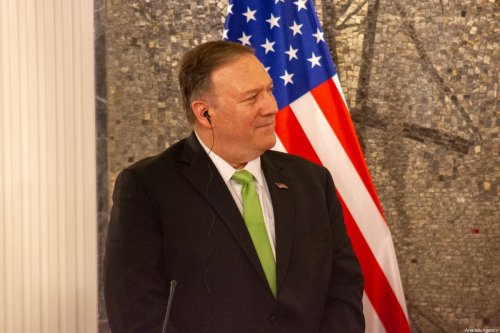 US Secretary of State Mike Pompeo hold a joint press conference after their meeting in Podgorica, Montenegro, 4 October, 2019 [Adel Omeragic/Anadolu Agency]