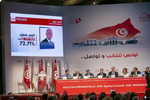 Nabil Baffoun, President of the Independent Higher Authority for Election, holds a press conference to announce the results of a second round run- off of the presidential election in Tunis, Tunisia on 14 October 2019. [Yassine Gaidi - Anadolu Agency]