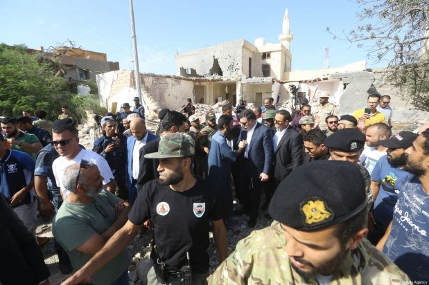 Head of Libya's Government of National Accord (GNA), Fayez al-Sarraj inspects the scene after a house hit by airstrike of the Haftar's forces in Tripoli, Libya on October 14 2019 [Hazem Turkia / Anadolu Agency]