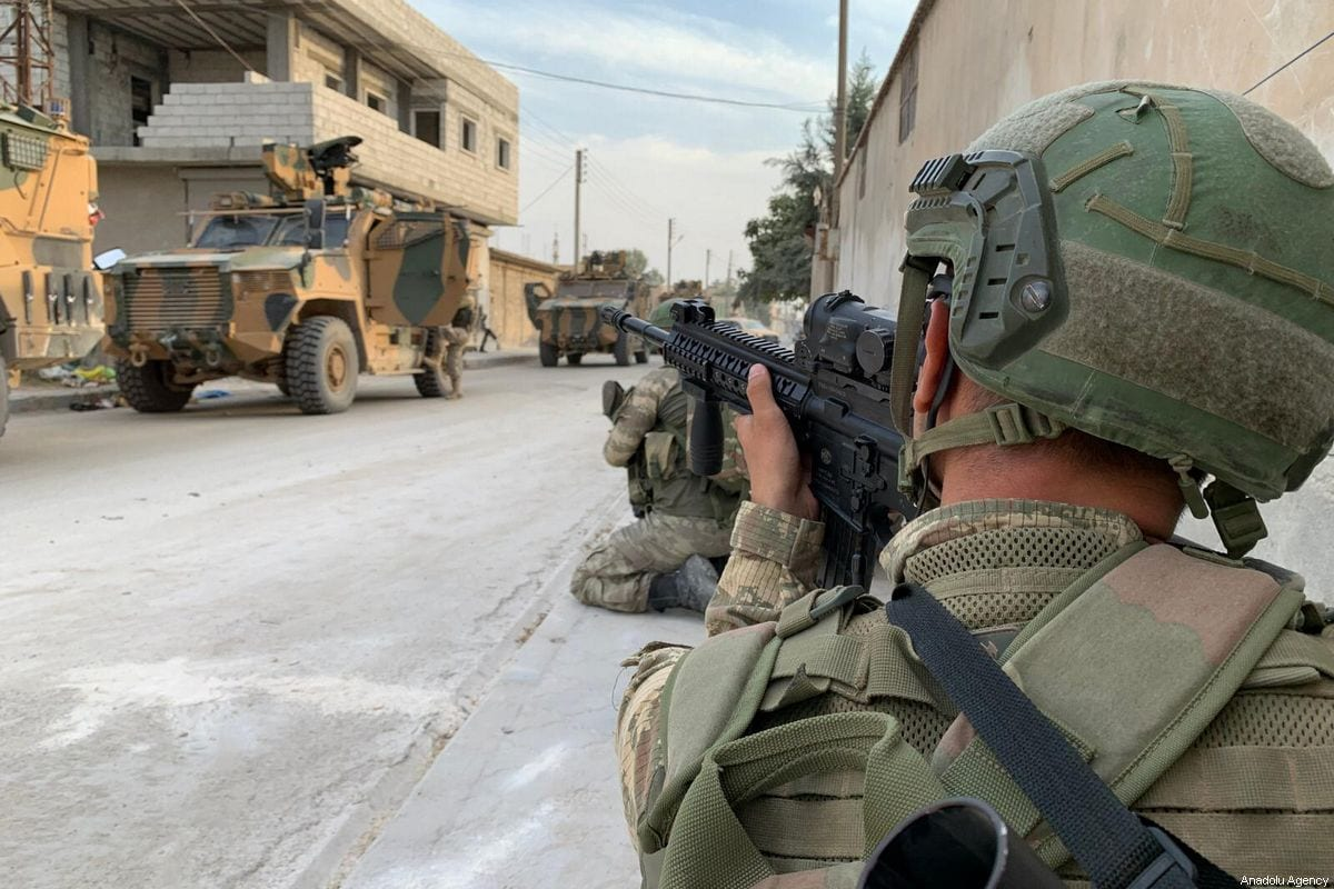 Members of Turkish Armed Forces (TSK) continue operations against the PKK, and the Syrian Kurdish YPG militia, within Turkey's Operation Peace Spring in Ras Al Ayn, Syria on 17 October 2019. [TURKISH ARMED FORCES / HANDOUT - Anadolu Agency]