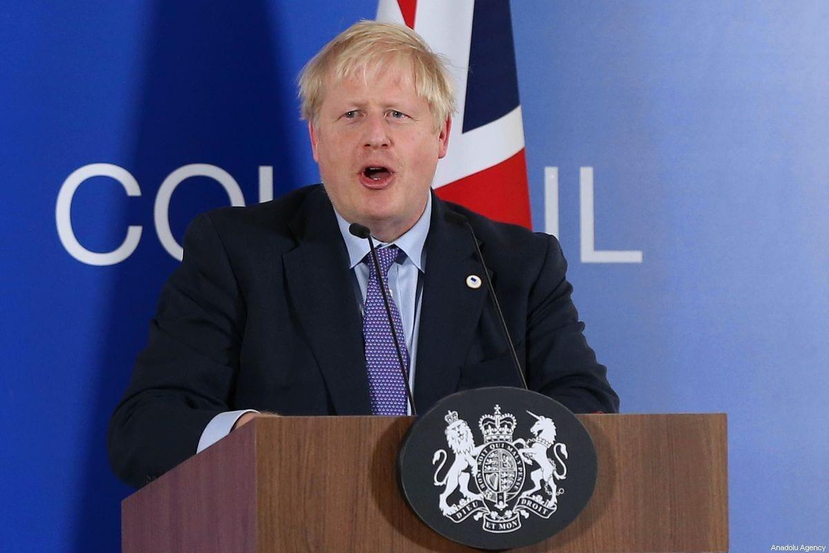 British Prime Minister Boris Johnson in Brussels, Belgium on 17 October 2019 [Dursun Aydemir/Anadolu Agency]