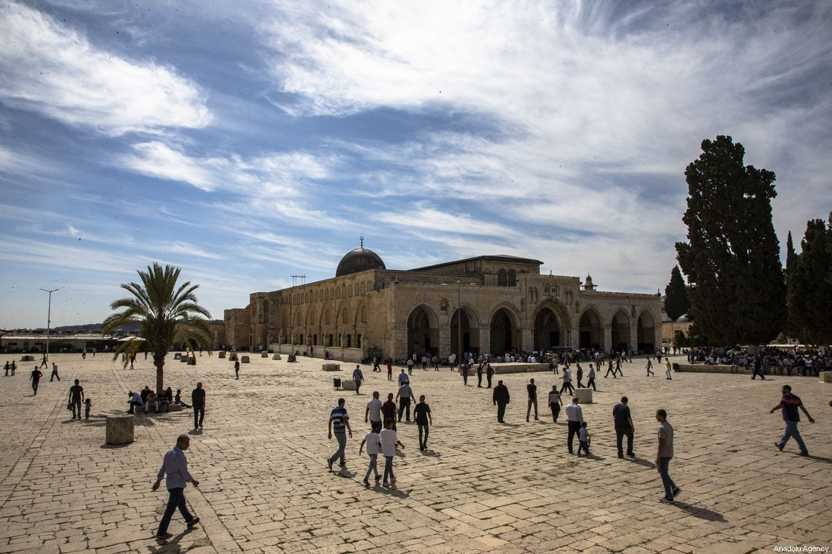 Muslims arrive to perform the Friday Prayer at Al-Aqsa Mosque Compound in Jerusalem on October 18, 2019 [Faiz Abu Rmeleh / Anadolu Agency]