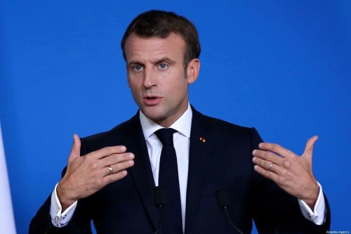 French President Emmanuel Macron makes a speech as he holds a press conference at the end of the second day of the European Summit at the European Council in Brussels, Belgium on 18 October 2019. [Dursun Aydemir - Anadolu Agency]