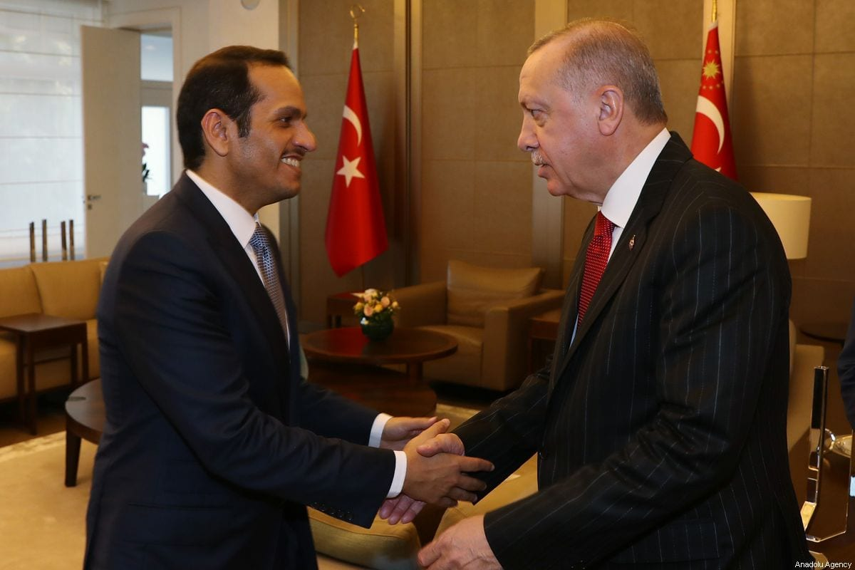 Turkish President Recep Tayyip Erdogan shakes hands with Qatar's Vice President and Foreign Minister Sheik Mohammed bin Abdulrahman bin Jassim Al-Thani (L) during their meeting at Dolmabahce Palace in Istanbul, Turkey on 18 October 2019. [Mustafa Kamacı - Anadolu Agency]