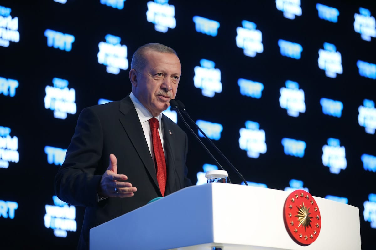 "President of Turkey Recep Tayyip Erdogan speaks during TRT World Forum 2019, held under main theme of ""Globalization in Retreat: Risks and Opportunities"" in Istanbul, Turkey on 21 October 2019. [Mustafa Kamacı - Anadolu Agency]"