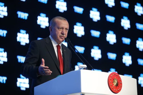 "President of Turkey Recep Tayyip Erdogan speaks during TRT World Forum 2019, held under main theme of ""Globalization in Retreat: Risks and Opportunities"" in Istanbul, Turkey on 21 October 2019. [Mustafa Kamacı - Anadolu Agency]"