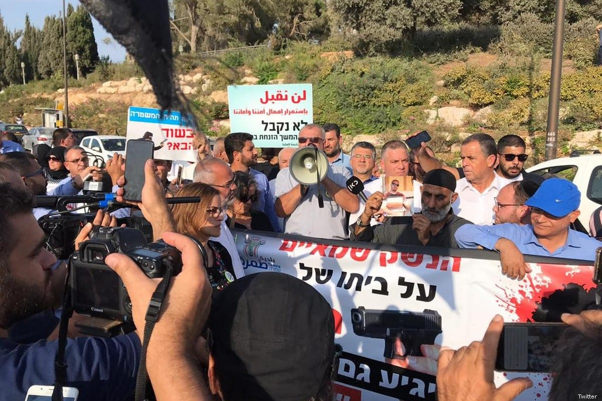 Palestinian citizens of Israel protest calling for greater police presence in Arab communities to tackle violent crime on 10 October 2019
