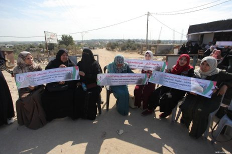 Palestinian women protest at the Erez crossing in Gaza calling for an end to the siege on 22 October 2019 [Wafa Aludaini]