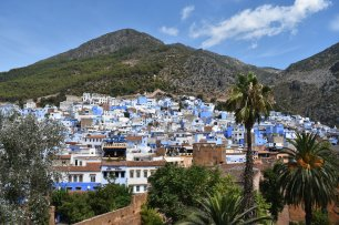 The blue city of Chefchaouen, laying within the Rif mountains.
