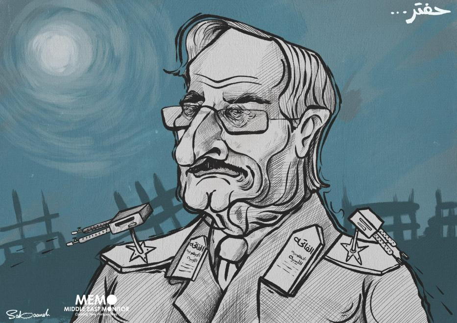 The powerful Haftar - Cartoon [Sabaaneh/MiddleEastMonitor]