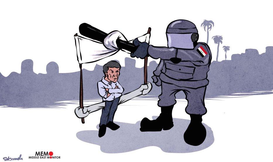 Iraqi protests - Cartoon [Sabaaneh/MiddleEastMonitor]