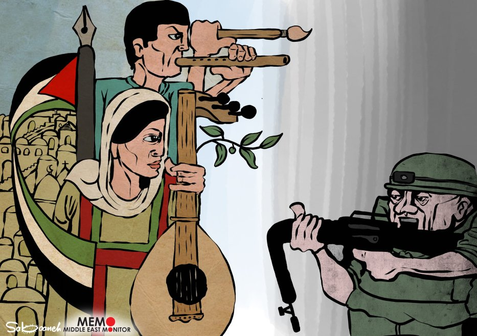Palestinian's culture and heritage is the best weapon against the Occupation - Cartoon [Sabaaneh/MiddleEastMonitor]