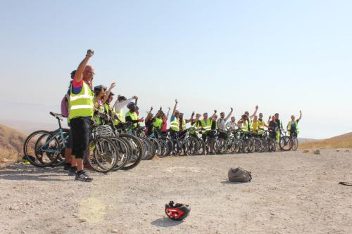 The Cycle Palestine team, who cycled 240km in aid of Medical Aid for Palestinians, from the UK to the West Bank, Palestine, between the 16-22 September 2019 [image:supplied]