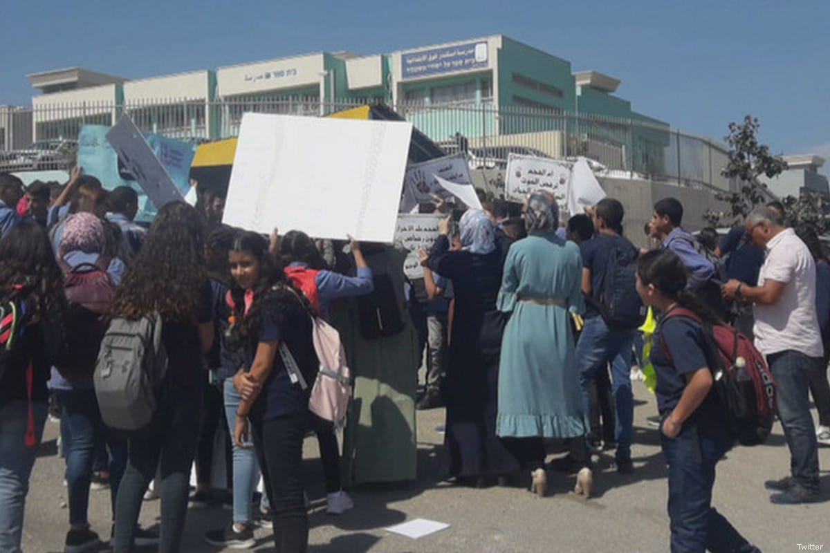 Palestinian citizens of Israel protest against the lack of action by the authorities to stem a tide of violence in Arab towns and villages on 30 September 2019 [Twitter]