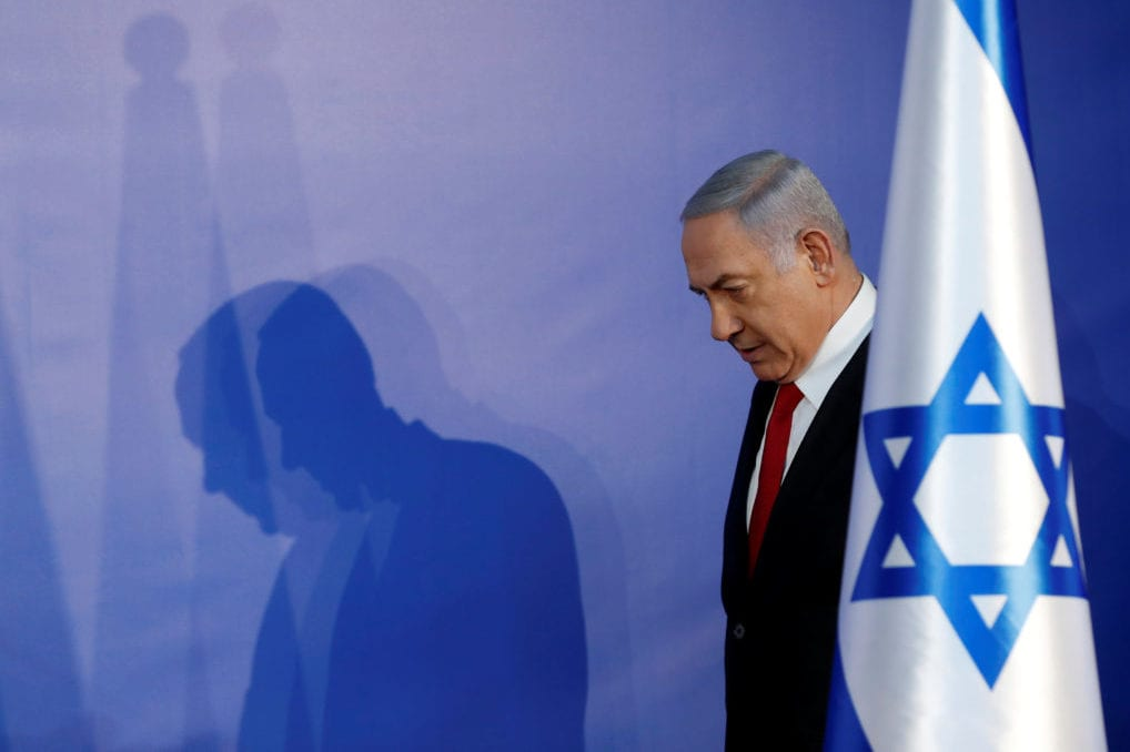 Israeli Prime Minister Benjamin Netanyahu arrives to deliver a statement to the media in his residency in Jerusalem 28 February, 2019 [REUTERS/ Ronen Zvulun]