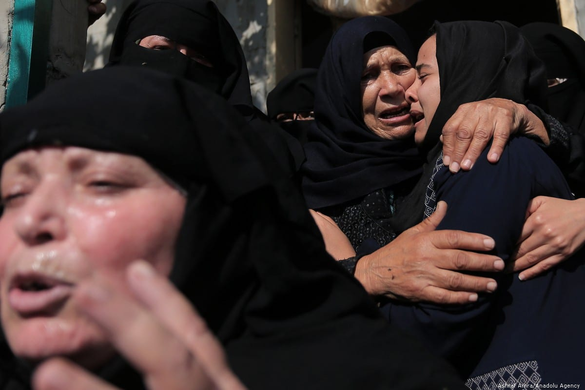 Relatives of Palestinian Mohammad Sharab, who was killed by Israeli air strikes in Gaza, mourn during his funeral ceremony on 14 November 2019 [Ashraf Amra/Anadolu Agency]
