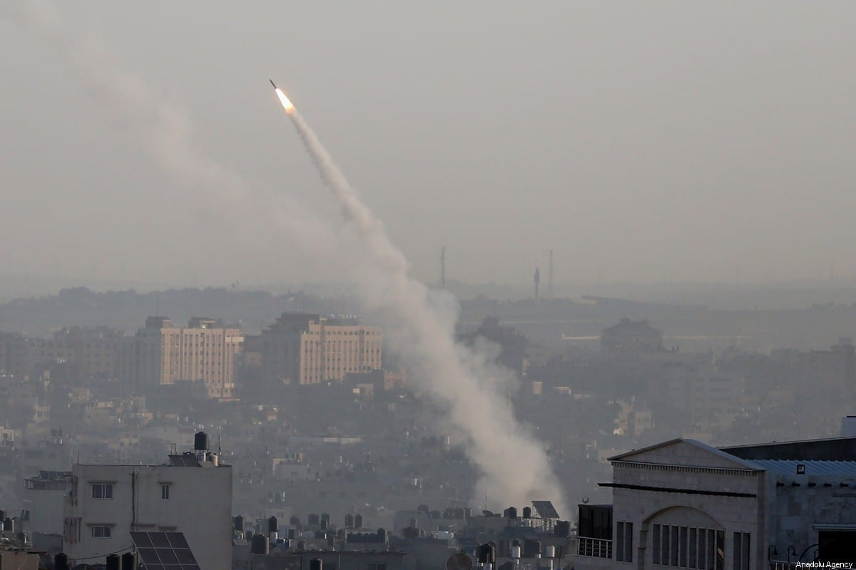 Rockets are being fired from Gaza city towards Israel's Sderot and Ashkelon on November 12, 2019 [Ashraf Amra/Anadolu Agency]